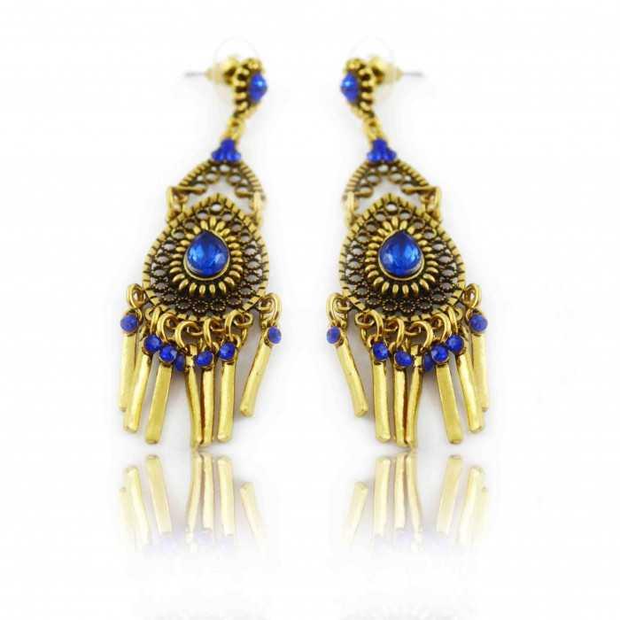 """Boucles d'oreilles orientales """"Meera"""" en métal doré et strass"""