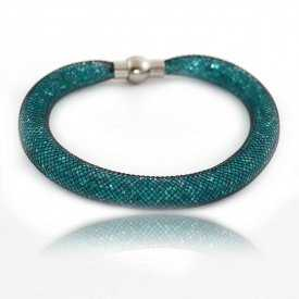 "Bracelet ""Nylon"" en métal, strass et filet"