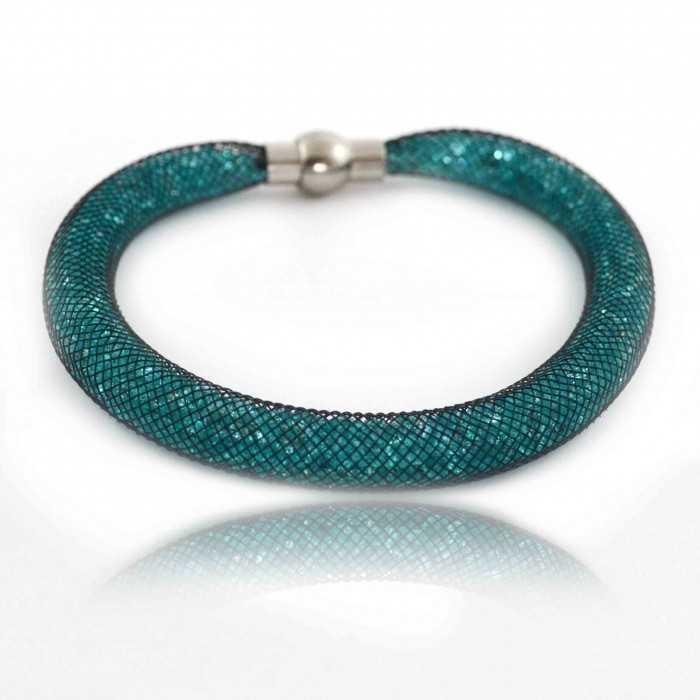 "Bracelet ""Nylon"" en métal, strass et filet"