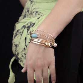 "Bracelets multiples ""Aishwarya"" en métal et turquoise"
