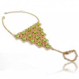 """Bracelet-bague """"Mata Hari"""" en métal doré et résine"""
