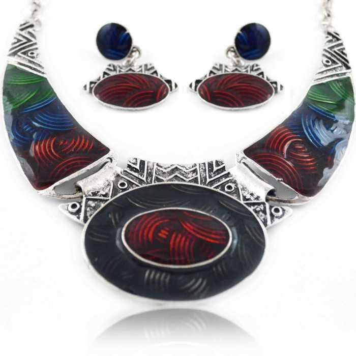 """Parure """"Ness - Tibet"""" en métal argenté et émail"""