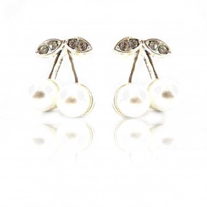"""Boucles d'oreilles """"Smart cherry"""" en métal argenté, perles de synthèse et strass"""