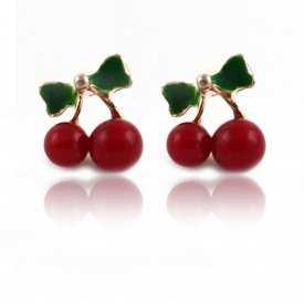 """Boucles d'oreilles """"Cherry Mini"""" en métal doré, résine, émail et strass"""