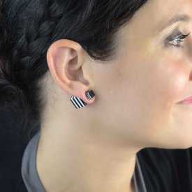 """Boucles d'oreilles """"Cubik"""" en métal et résine"""