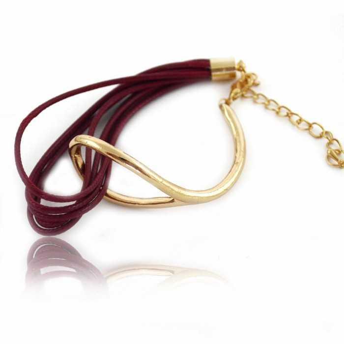 """Bracelet """"Duo"""" en métal doré et cuir"""