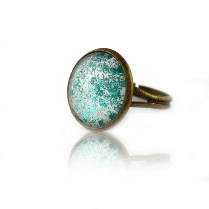 """Bague """"Glitter - Summer Turquoise"""" en métal doré vieilli et cabochon"""