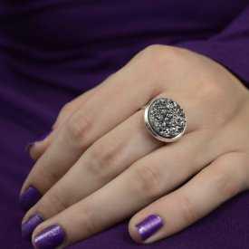 """Bague """"Glitter - Granit"""" en métal argenté"""