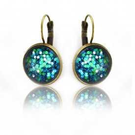 """Boucles d'oreilles """"Glitter - Comète"""" en métal doré vieilli et cabochon"""