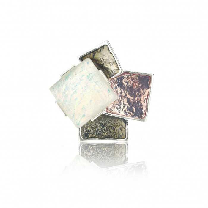 """Bague """"Ikita - Squares"""" en métal argenté, résine et émail"""
