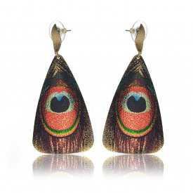 """Boucles d'oreilles """"Ikita - Paon"""" en métal cuivré peint"""