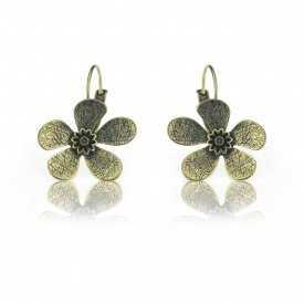 "Boucles d'oreilles ""Ikita - Fleur métallisée"" en métal doré"