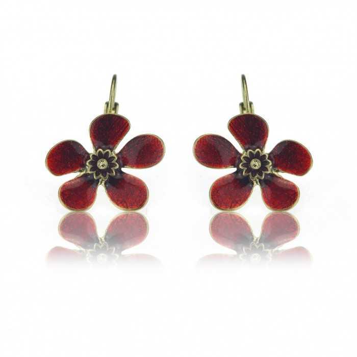 """Boucles d'oreilles """"Ikita - Fleur émaillée"""" en métal et émail"""