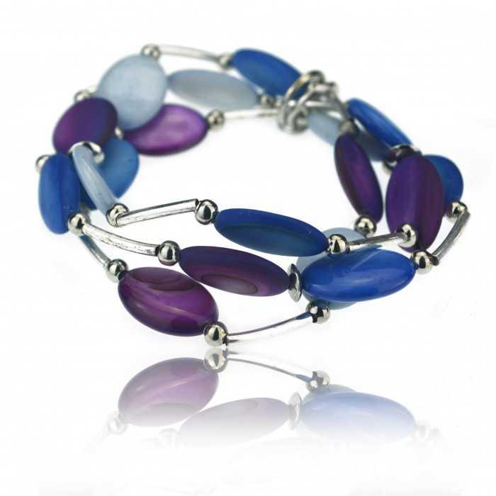 """Bracelet fantaisie élastiqué """"Ikita - Pastelito"""" en métal argenté et perles de verre"""