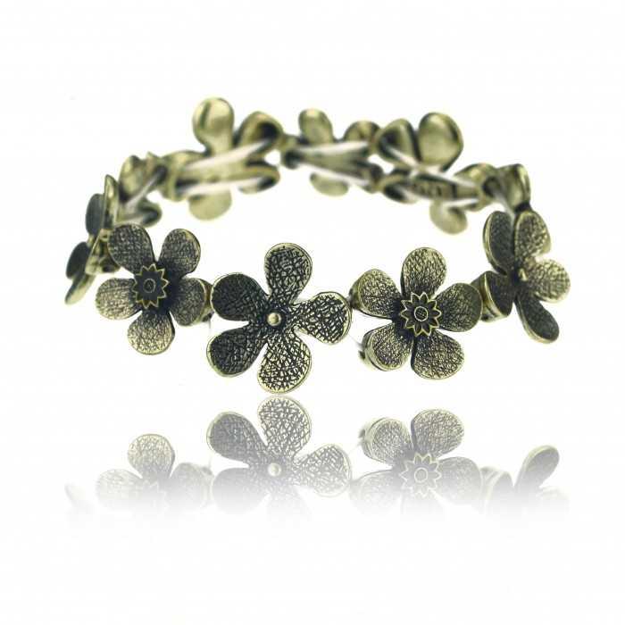"Bracelet élastiqué ""Ikita - Flowers"" en métal doré"