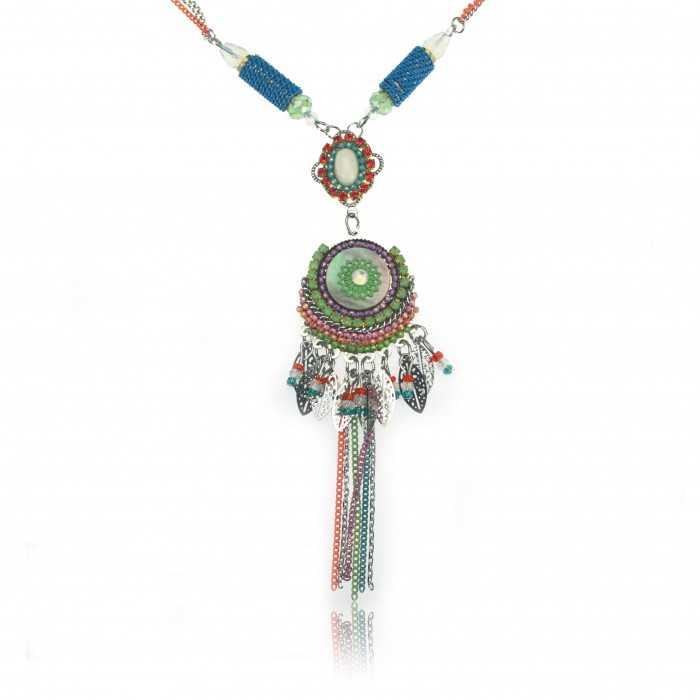 """Collier """"Ikita - Bohème"""" en métal argent, perles, strass et nacre"""