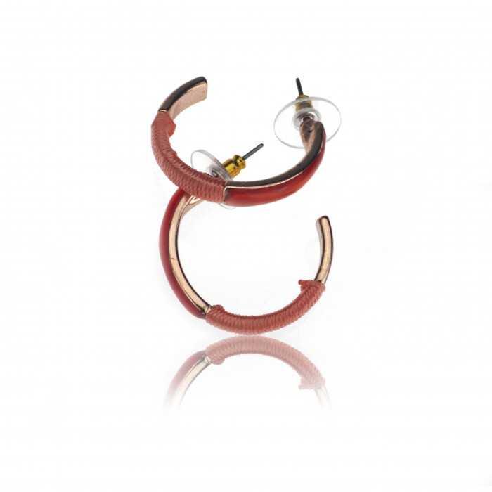 """Boucles d'oreilles """"Ikita - Cuivre"""" en métal cuivré et fil"""