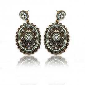 """Boucles d'oreilles """"Tribal Style - Shine"""" en métal doré vieilli, strass et mini perles"""
