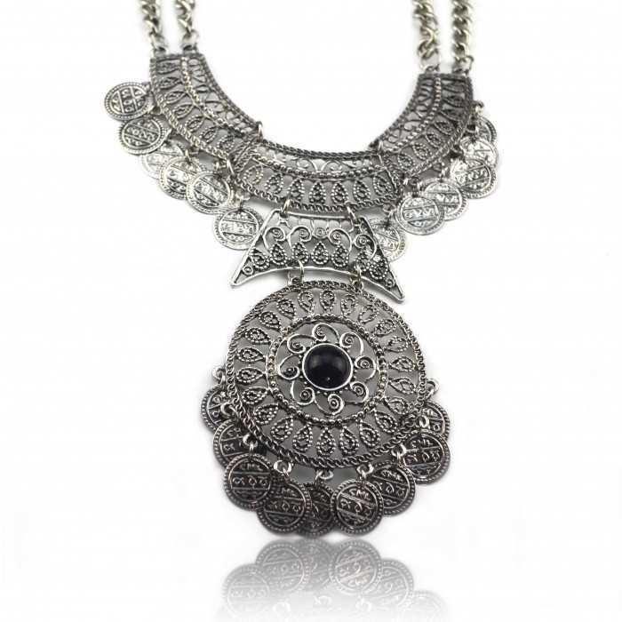 """Collier """"Tribal Style - Maksum"""" en métal argenté"""