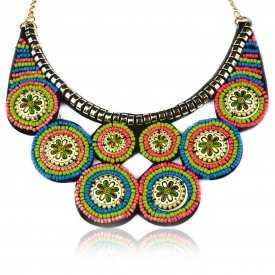 "Collier ""Tribal Style - Gipsy"" en métal doré et perles"