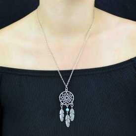 """Collier """"Tribal Style - Samai"""" en métal argenté et pele de turquoise"""