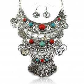 """Parure """"Tribal Style - Clio"""" en métal vieilli et perles de turquoise"""