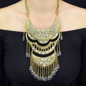"""Parure """"Tribal Style - Terpsichore"""" en métal vieilli, strass et perles"""