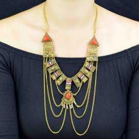 """Parure """"Tribal Style - Calliope"""" en métal vieilli  et perles"""