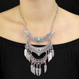 """Parure """"Tribal Style - Frontiers"""" en métal argenté et perles"""