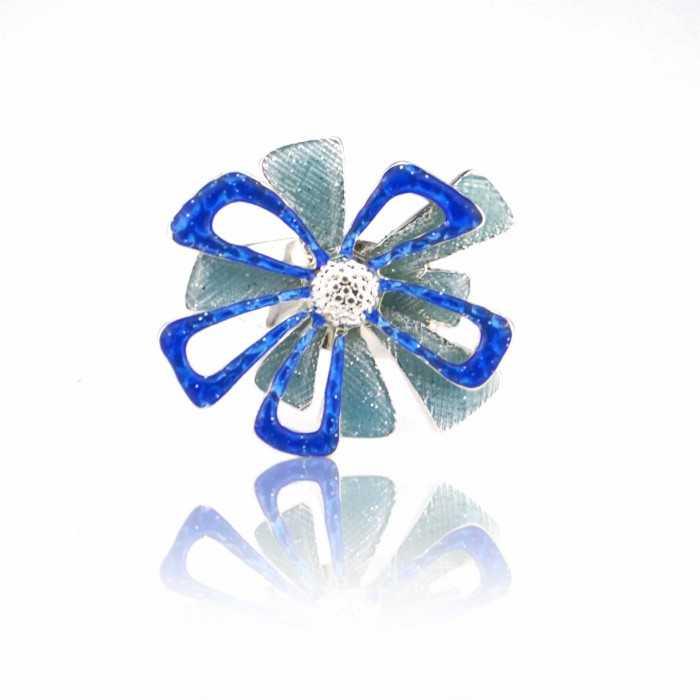 """Bague """"Ikita - Fleur de Noël"""" en métal argenté et émail"""