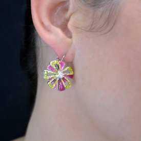 """Boucles d'oreilles""""Ikita - Fleur de Noël"""" en métal argenté et émail"""