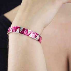 "Bracelet ""Ikita - Zigzag"" en métal argenté et émail"