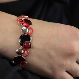 "Bracelet ""Ikita - Embrasement"" en métal doré et émail"