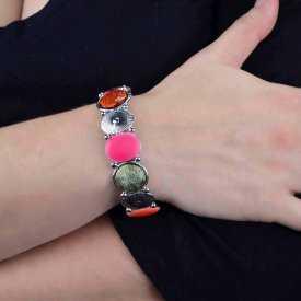"Bracelet ""Ikita - Happy"" en métal argenté et émail"