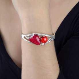"""Bracelet """"Ikita - Ice"""" en métal argenté et émail"""