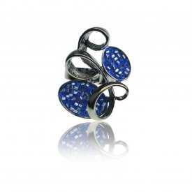 "Bague ""Ikita - Cotillons"" en métal anthracite et mini perles"
