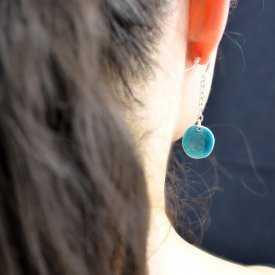 """Boucles d'oreilles """"Ikita - Double face"""" en métal argenté et émail"""