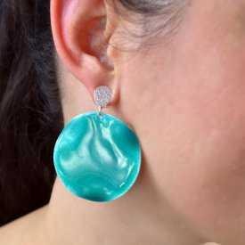 """Boucles d'oreilles """"Ikita - Poker face"""" en métal argenté et émail"""