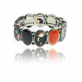 """Bracelet """"Ikita - Printemps"""" en métal argenté, résine et émail"""