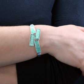 """Bracelet """"Ikita - Paving"""" en métal argenté et émail pailleté"""