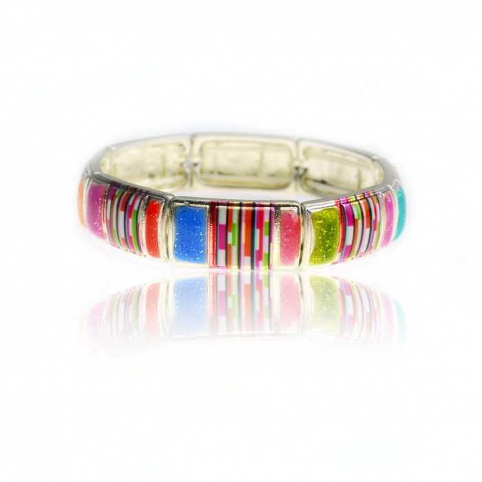 "Bracelet ""Ikita - Stripes"" en métal argenté et émail"
