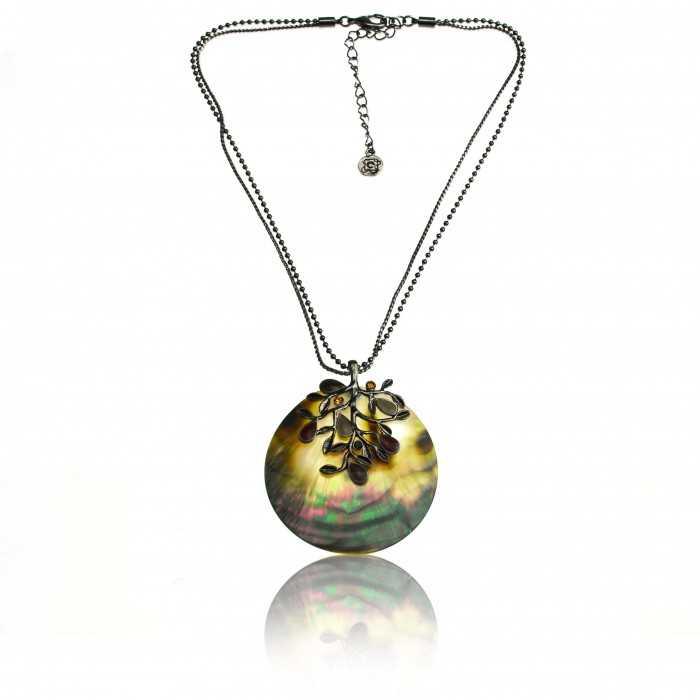 """Collier """"Ikita - Arbre nacré"""" en métal argent, nacre et émail"""
