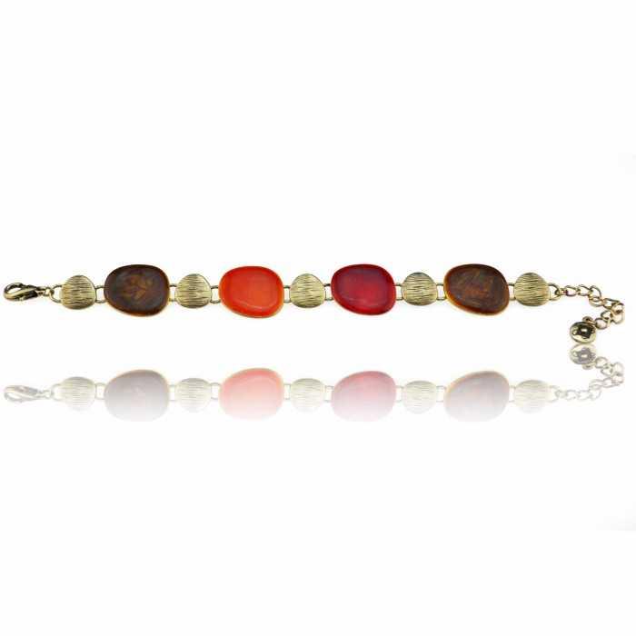 "Bracelet ""Ikita - Automn"" en métal doré et émail"