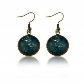 """Boucles d'oreilles """"Sweet nature - Dandelion"""" en métal bronze et cabochon de verre"""