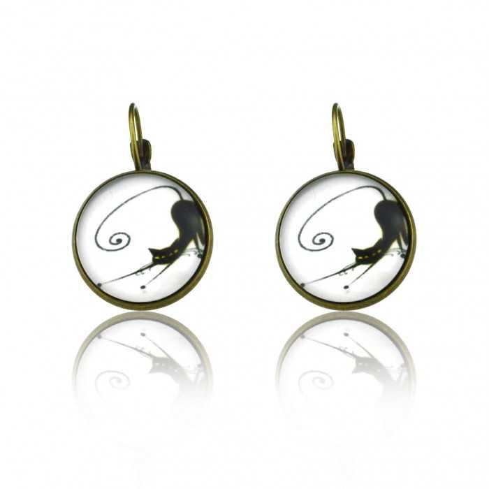 """Boucles d'oreilles """"Sweet nature - Cats"""" en métal bronze et cabochon de verre"""
