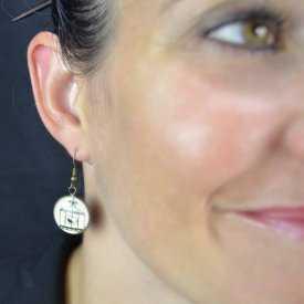 """Boucles d'oreilles """"Sweet nature - Birds"""" en métal bronze et cabochon de verre"""