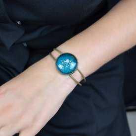 """Bracelet """"Sweet nature - Dandelion"""" en métal bronze et cabochon de verre"""