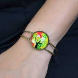 """Bracelet """"Sweet nature - Tree"""" en métal bronze et cabochon de verre"""