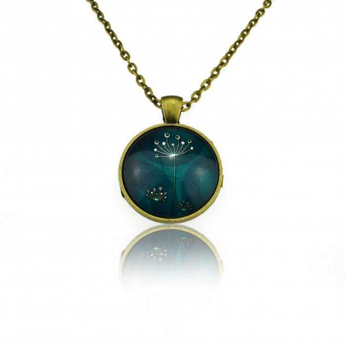 """Collier""""Sweet nature - Dandelion"""" en métal bronze et cabochon de verre"""