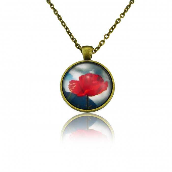"""Collier""""Sweet nature - Poppy"""" en métal bronze et cabochon de verre"""